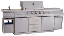 Full stainless steel CB-SBG 4-burner gas grill and side burner, infrared back burner with sink.