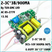 10Pcs TUV-EMC LVD CE 10W AC85-277V LED Power 2-3Cx3B 900mA DC5-10V Constant Current LED Driver For LED bulb lamp Free Shipping