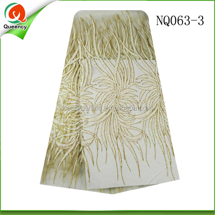 Accessories gold good quality cotton embroidery african french tulle lace fabric