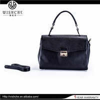 Wishche W014 Latest Reasonable Pricing Customized Oem Black Leather Bags Spanish Brands Handbags