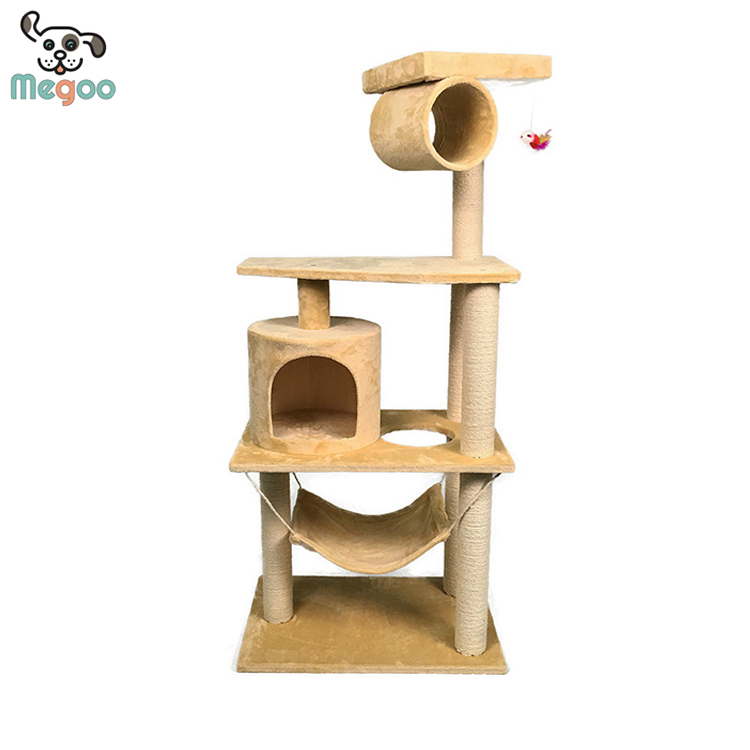 Wooden Cat Tree Condo Four Levers Activity Platform For Pet Cats
