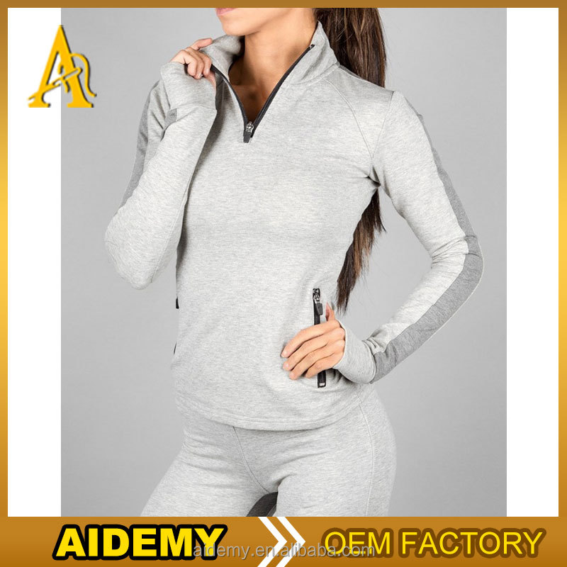 Half zip pullover hoodie women slim fit gym wear with sweat legging