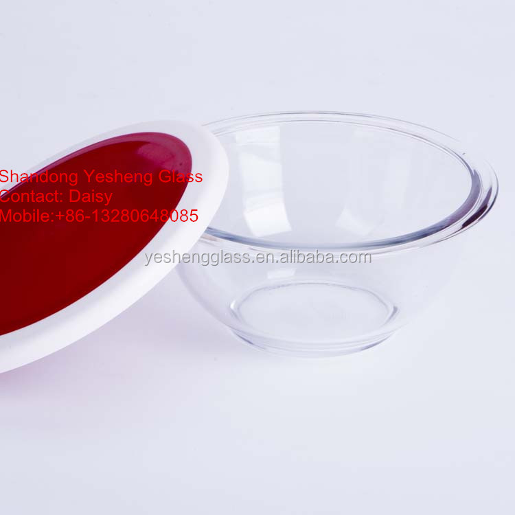 Round tempered glass mixing bowl 1.3L heat-resistant FDA