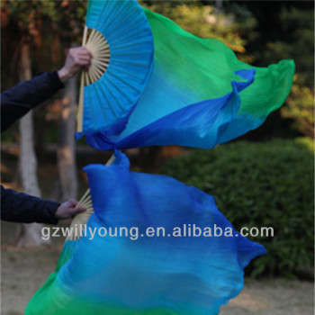 Vertical Colors, BLUE/TURQUOISE/GREEN, Belly Dance 100% Real Silk Fan Veils, 1.8M
