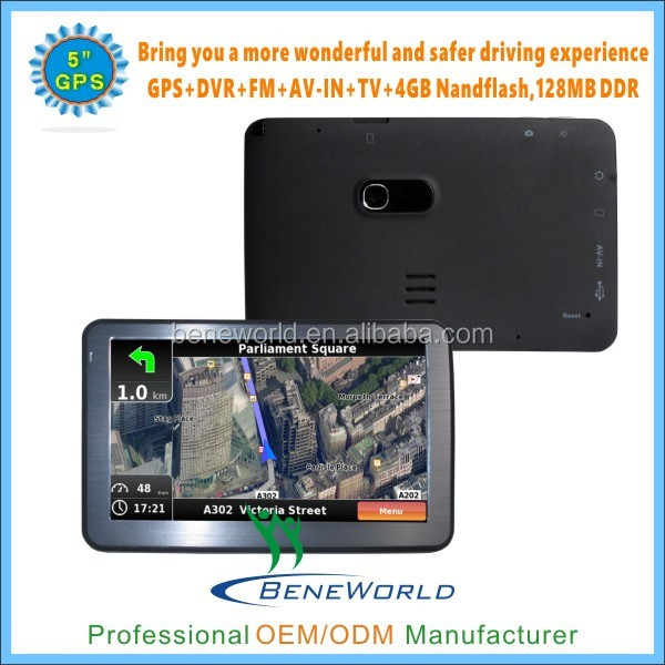 High quality 5 inch 3d car gps navigation 800*480 dvr recording bluetooth
