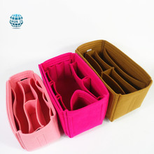 Women portable travel felt cosmetic bag organizer custom fashion felt handbag