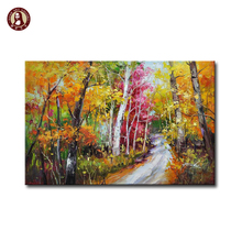 Hand Wall Art Ideas Beautiful Birch Image Natural Scenery Painting