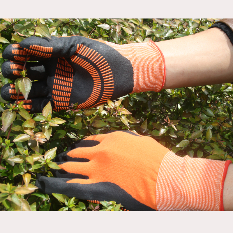 NMSAFETY orange nylon liner coated nitrile glove nitrile dots on coating sfety glove improve grip performance