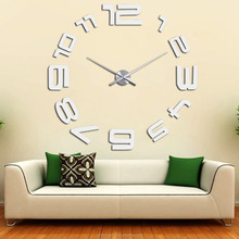 Home Decoration DIY Large Wall Clock 3D Sticker Metal Big Watches Clock New