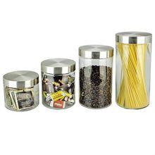 SINOGLASS 4 pcs cylinder shape glass storage canister jar set with stainless steel lid