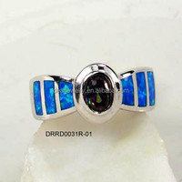 Blue Fire Opal Rings , Costume Jewelry , Man-made Opal With Mystic Topaz Jewelry Accepted By paypal