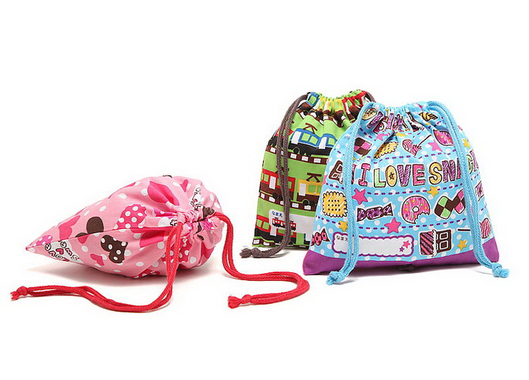 Attractive and durable hot selling cute printed gift cotton drawstring bag