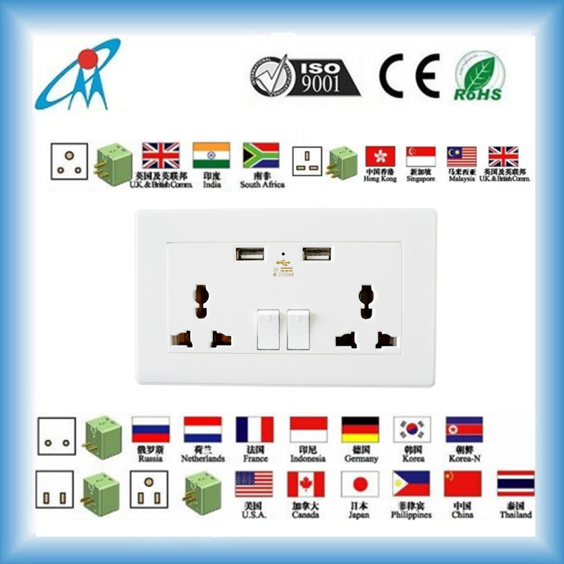13amp International 2 gang 3 Pin Multi Wall Socket Universal USB Wall Socket