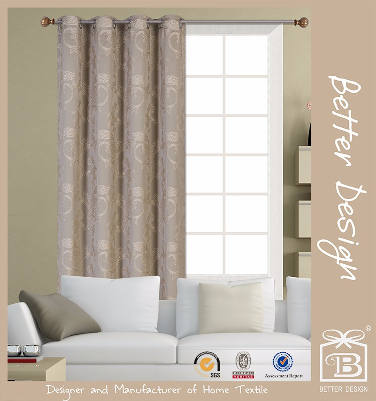 1pc Jacquard Floral Style Fabric Window Curtain With 8 Grommets For Window