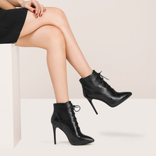 F0090 2017 hot sale lace up high heel cheap leather ankle boots and shoes for womens
