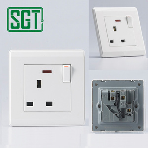 British standard electrical 13 amp 1 gang switched socket 13A socket with UK switch
