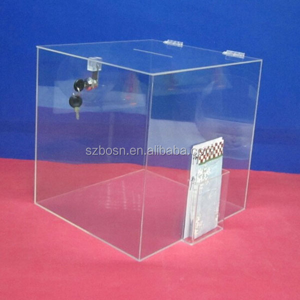 Acrylic Donation Box with Lock and Header,Perspex Ballot Box,Lucite Suggestion Box