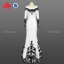New Arrival Scoop Neckline Black Appliques Arabic White Evening Dress Long Sleeve