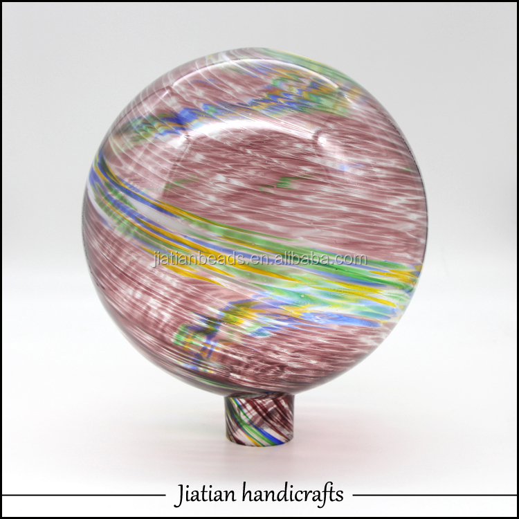 Hand blown glass gazing balls purple swirl strip jtgb