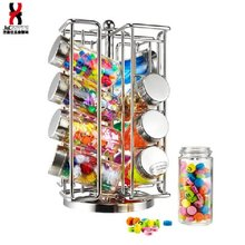Spinning countertop spices bottle display rack/useful houseware wire sauce bottles display holder/wire carousel castor case