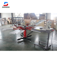 High quality Economical manual 6 color 6 station rotary t shirt silk screen printing machine for sale