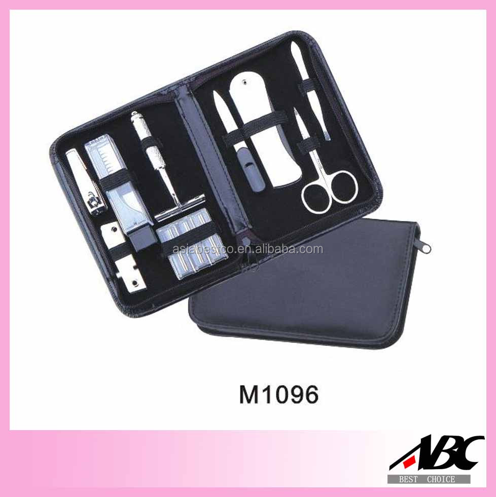 Wholesale Professional PU Case Travel Grooming Kits 9pcs Mens Manicure Set
