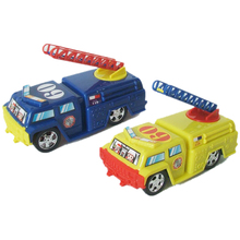 Cartoon pull back toy yellow fire engine