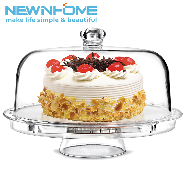 Acrylic 6 in 1 12 Inch Multifunctional Cake Stand With Dome