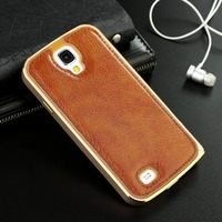 For Samsung Galaxy S5 case, Fashion Metal Frame bumper with Genuine Leather back cover case,case for Samsung Galaxy s5