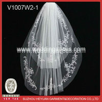White embroidery trim with bead wedding bridal long cathedral veil/communion veil