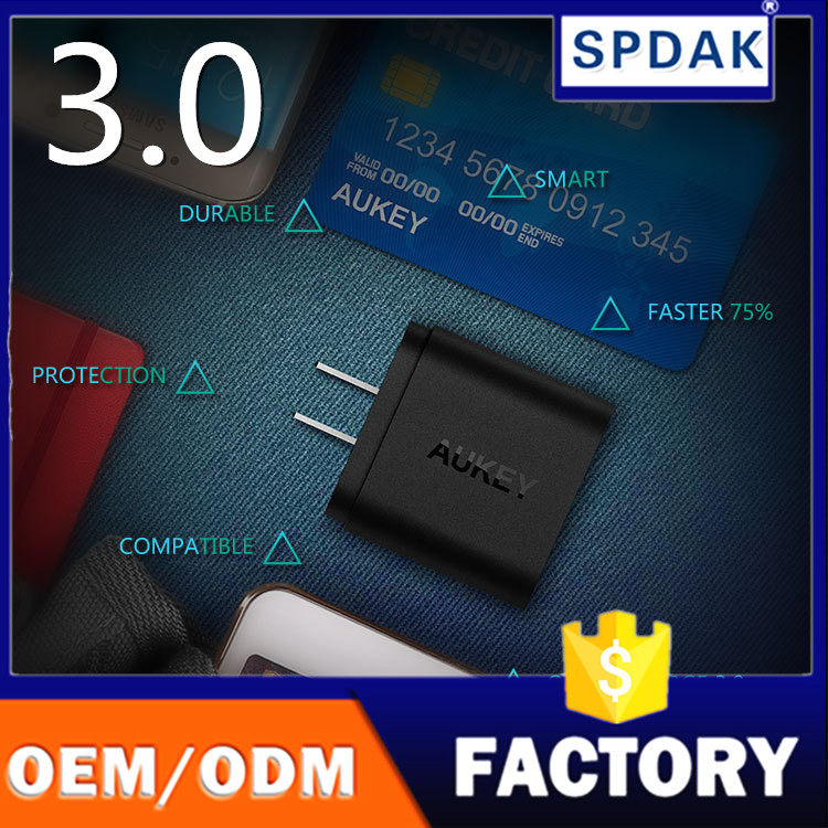 Factory OEM AUKEY PA-T9 18W USB Wall Charger adapter Support Qualcomm Quick Charge 3.0 US plug 3.0 Adapter Charger