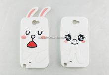 cheap cartoon rabbit ear Silicone mobile phone case for samsung note 2