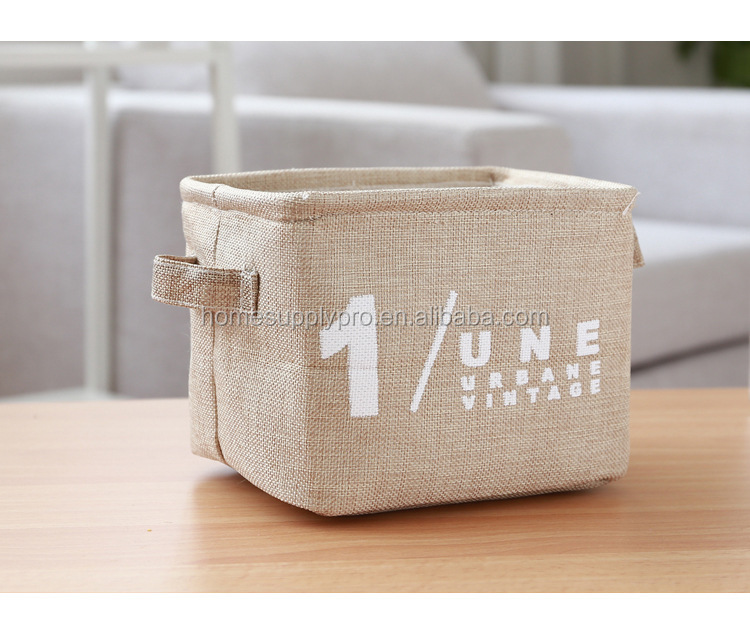 Storage Bin Cotton & Jute Portable Foldable Organizer Boxes, Big Canvas Storage Basket Bag for Baby & Kids Toys, Clothes, Cars a