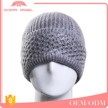 Factory price high quality grey custom knitting slouchy warm winter beanie hat