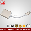 Golden USB 3.1 Type C to HDMI female 24 pin reversible adapter used for MAC