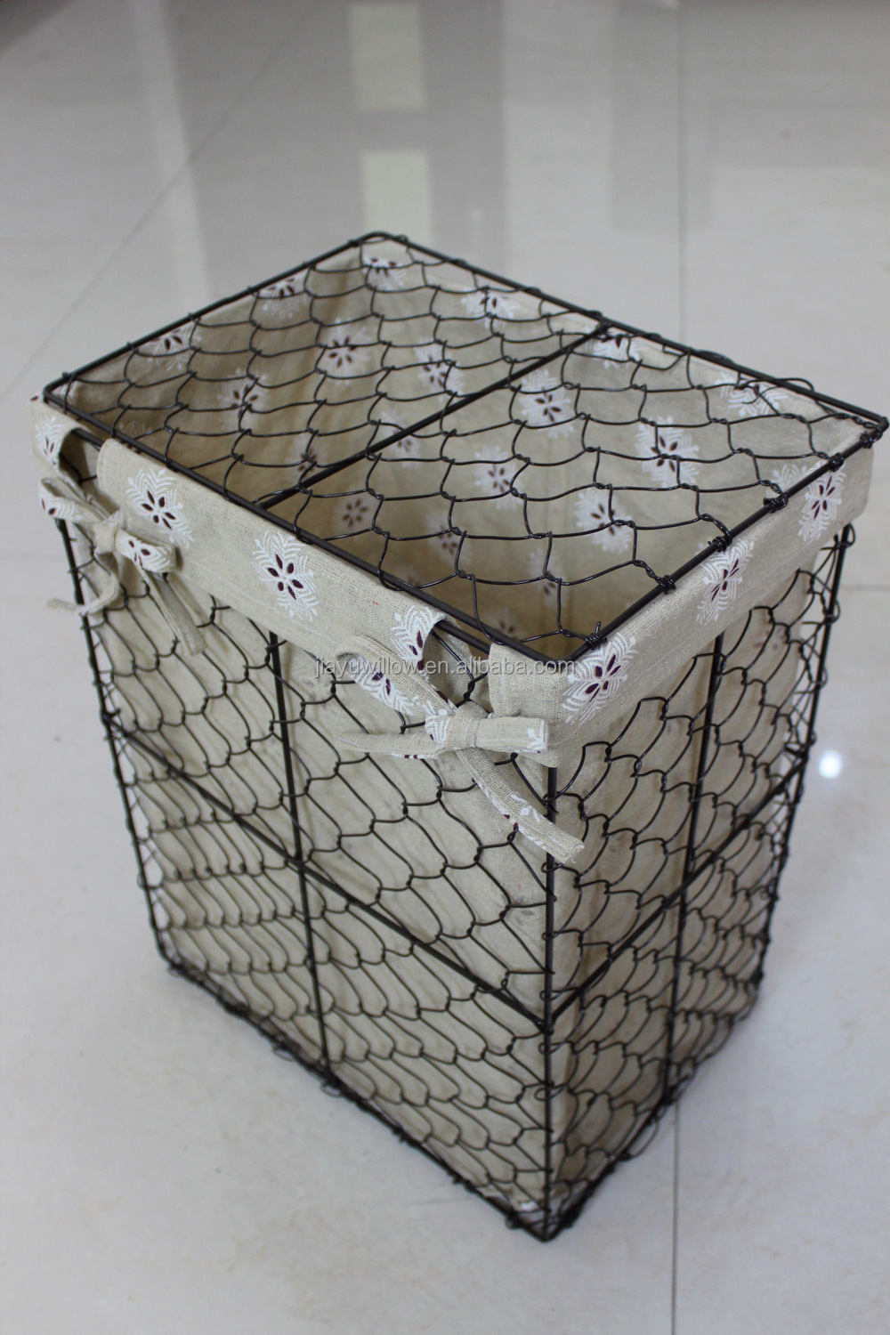 handmade wire storage basket with cover wire laundry basket with fabric liner wholesale buy. Black Bedroom Furniture Sets. Home Design Ideas