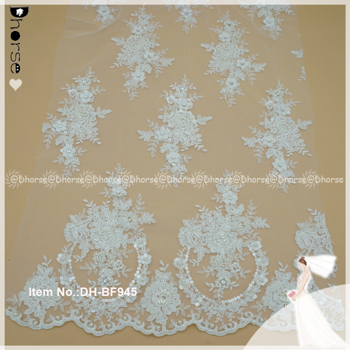 3D tiny flower sequins beaded heavy lace design/tulle french embroidery lace fabric
