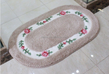 Beautiful rose oval shape living room non-slip mat