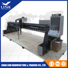 cnc plasma and drill steel gantry type cnc plasma cutter with LGK 200A and flame cuttting head