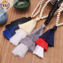 PYQ-00297 2017 latest design long natural wooden beaded three layered cotton tassel necklace pendant necklace