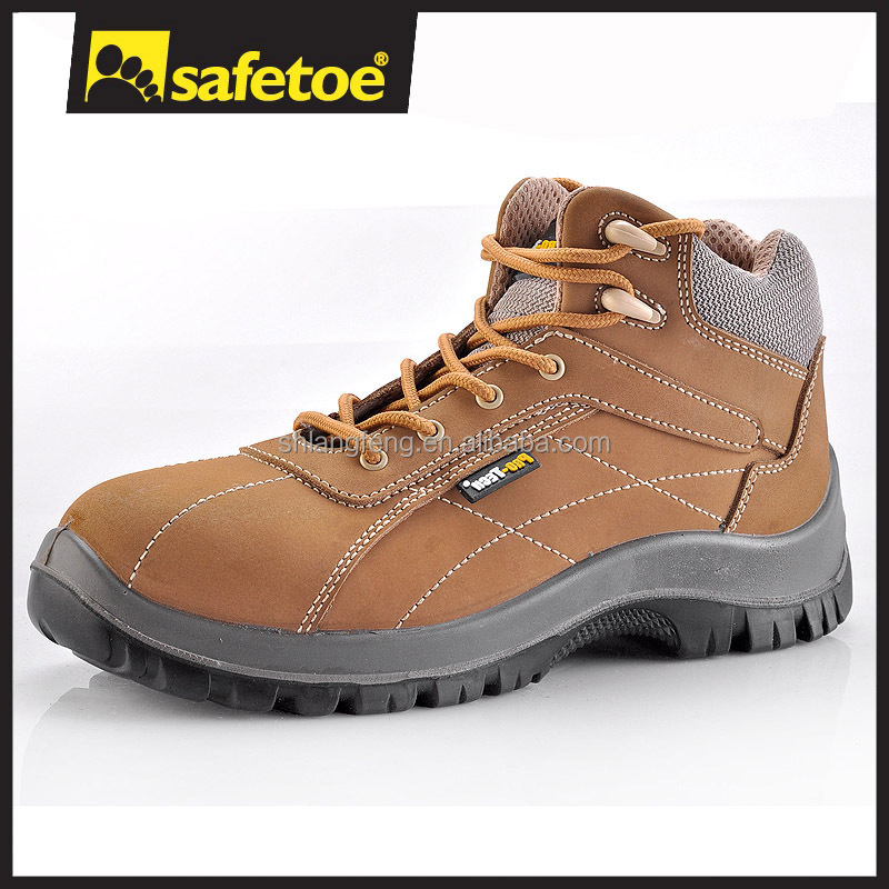 Composite toe safety shoes/plastic toe safety boots/western cowboy safety boots