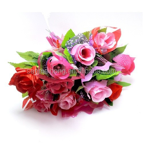 One Dozen Hand Made Glitter Romantic Artificial Roses Bouquet Silk Flowers
