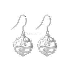 Merryshine 925 sterling silver cage Mexican bola chime bell earrings with colored bola ball earrings for women HER003