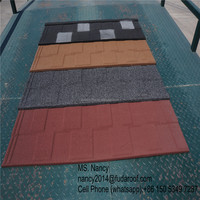 easy installation shingle/flat stone coated steel roof tiles
