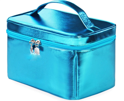 Hot sale Blue PU Organizers Cheap Wholesale Makeup Bags for Cosmetics
