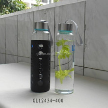 400ml BPA free sealed lid borosilicate glass water bottle with silicone sleeve