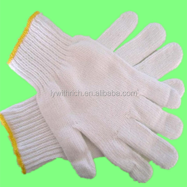 Weight High quality 10G Bleached white safety working Short fingers cotton 10gauge cotton Knitted working safety gloves EN388