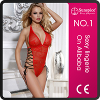 2015 hot sale fasionable style exclusive lingerie latex clothing with side lace-up