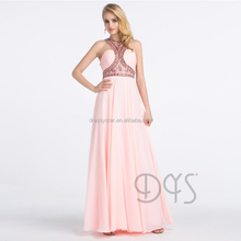 2017 Latest design long pink beaded heavy designer girls prom dress Made in China