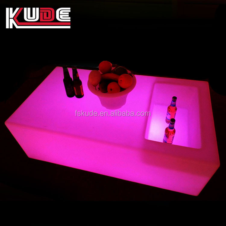 Indoor And Ourdoor Led Low Bar Table With Ice Bucket